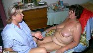 Corpulent granny and chubby milf masturbating with