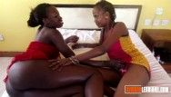 Hot darksome lesbos strap-on act