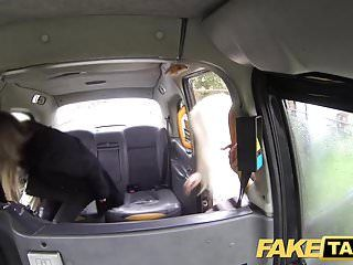 Falso taxi hawt lesbo 3some in london cum stained cab