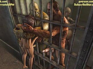 Lara croft brutally pumped by ogres in prison cg animation