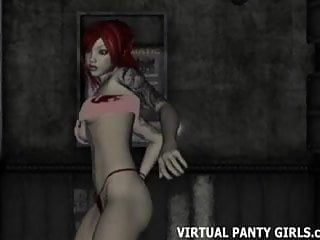 Large tittied cg comics stripper teasing on stage
