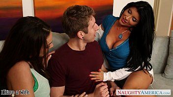 Nasty sweetheart romi rain share a large weenie with a lesbo