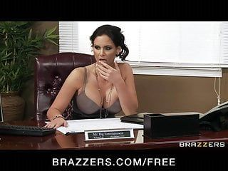Four sexy big-boob office doxies fuck boss big-dick in office