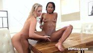 Breathtaking blond and ebon hottie have a fun soaked sexy make water session