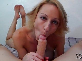 Slow blow job by hawt golden-haired until this babe acquires jizz flow in face hole
