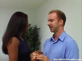 Constricted moist swarthy love tunnel in an interracial sex movie