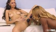 Lesbo sweetheart cookie eating and tribbing large bumpers swarthy in live show