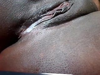 Afro snatch oozing after jizz flow