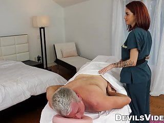 Miniature redhead provides customer with hawt sex massage